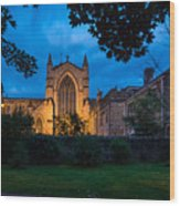 West Side Of Hexham Abbey At Night Wood Print