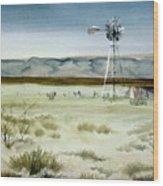 West Texas Windmill Wood Print