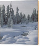 West Thumb Snow Pillows Wood Print