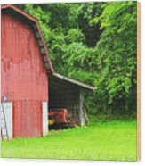 West Virginia Barn And Baler Wood Print