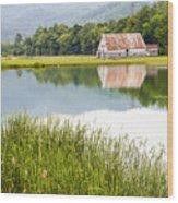 West Virginia Barn Reflected In Pond   Wood Print