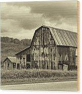 West Virginia Barn Sepia Wood Print
