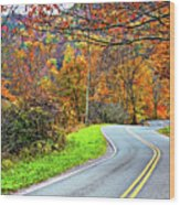 West Virginia Curves Wood Print