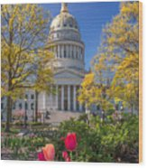 West Virginia State Capitol Colors Of Spring Wood Print