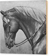 Western Horse Black And White Wood Print