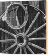 Western Rope And Wooden Wheel In Black And White Wood Print
