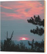 Western Sunset Sun On The Horizon Wood Print