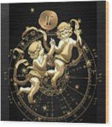Western Zodiac - Golden Gemini - The Twins On Black Canvas Wood Print