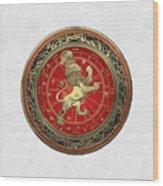 Western Zodiac - Golden Leo - The Lion On White Leather Wood Print