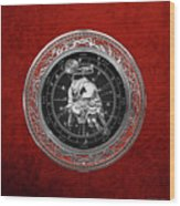 Western Zodiac - Silver Taurus - The Bull On Red Velvet Wood Print
