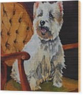 Westie Angel Dusty Wood Print