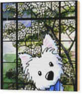 Westie At Dogwood Window Wood Print