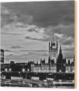 Westminster Black And White Wood Print