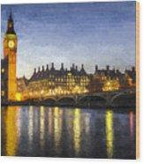 Westminster Bridge And Big Ben Art Wood Print