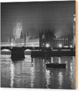 Westminster Palace at Night Wood Print