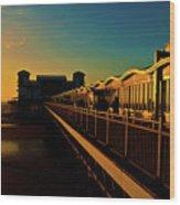 Weston Pier At Sunset Wood Print