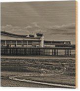 Weston  Super Mare   Outflow  Pier  Black  White Wood Print