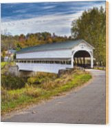 Westport Covered Bridge Wood Print by Jack R Perry