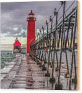 Wet At Grand Haven Wood Print