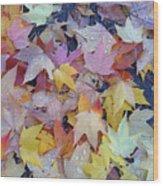 Wet Fall Leaves Wood Print