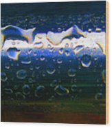 Wet Steel Blue Wood Print