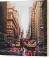 Wet Streets Of New York City Wood Print