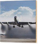 Wet Takeoff Kc-135 Wood Print