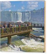 Wet Walkways In The Iguazu River In Iguazu Falls National Park-brazil  Wood Print