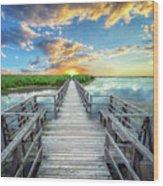 Wetland Marsh Sunrise Treasure Coast Florida Boardwalk A1 Wood Print