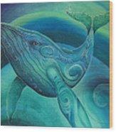 Whale Tohora By Reina Cottier Wood Print