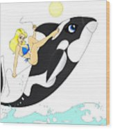 Whale Rider Wood Print