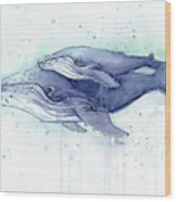 Whales Humpback Watercolor Mom And Baby Wood Print
