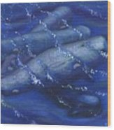 Whales under the Surface-Is that Moby Dick on the Bottom Wood Print