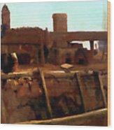 Wharf Scene Wood Print