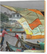 Whatever It Takes - Makeshift Sail At Tema Harbor Wood Print