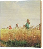 Wheat Field In The Summer Wood Print