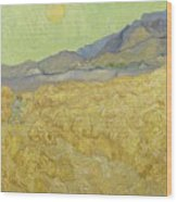 Wheat Field With Reaper At Wheat Fields Van Gogh Series, By Vincent Van Gogh Wood Print