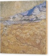Wheat Field With Reaper Harvest In Provence Wood Print