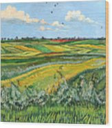 Wheat Fields And Clouds Wood Print