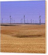 Wheat Fields And Wind Turbines Wood Print