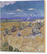 Wheat Fields With Reaper, Auvers Wood Print