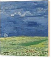 Wheatfield Under Thunderclouds At Wheat Fields Van Gogh Series, By Vincent Van Gogh Wood Print