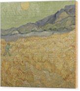 Wheatfield with Reaper Wood Print