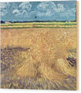 Wheatfield With Sheaves Wood Print
