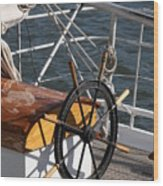 Sailingship Wheel Wood Print