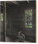Wheelbarrow In The Light Wood Print
