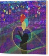 When Balloons Become Stars Wood Print