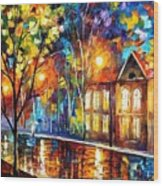 When The City Sleeps 2 - Palette Knife Oil Painting On Canvas By Leonid Afremov Wood Print