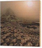 Sunset At Giant's Causeway Wood Print