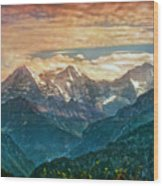 When The Sun Says Good Bye To The Mountains  Wood Print